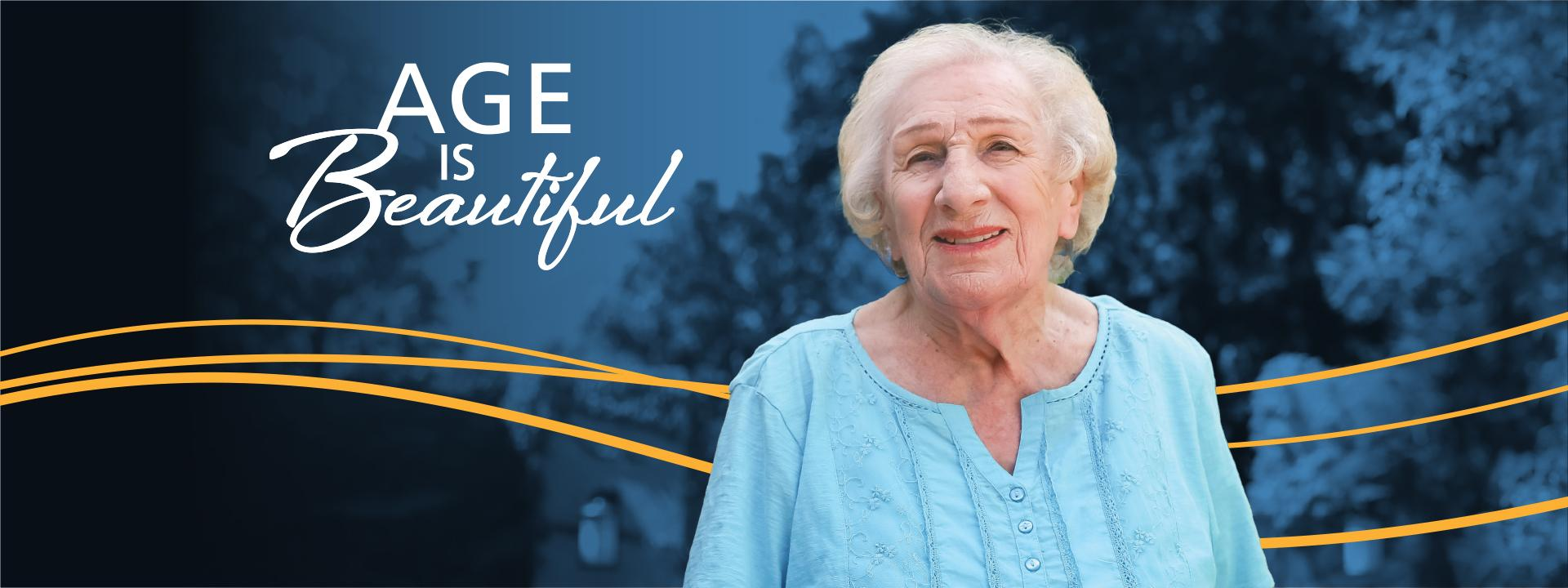 Age Is Beautiful banner with  Misia Nudler