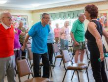 Residents enjoying a exercise workout.