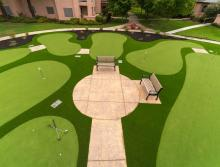 Aerial view of Eskaton Village Carmichael's putting green area