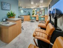 Beauty salon with two hair dryer seats