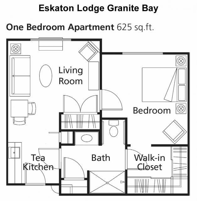 Floor plan -  one bedroom apartment 625 sq. ft.