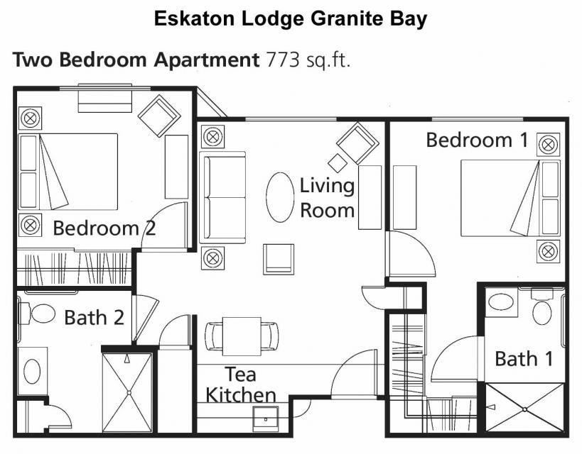 Floor plan -  two bedroom apartment 773 sq. ft.