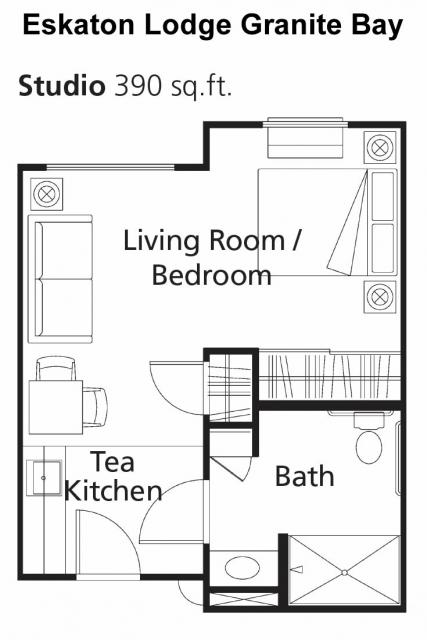 Floor plan -  studio apartment 390 sq. ft.
