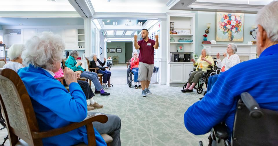 Residents enjoying a low-impact exercise class
