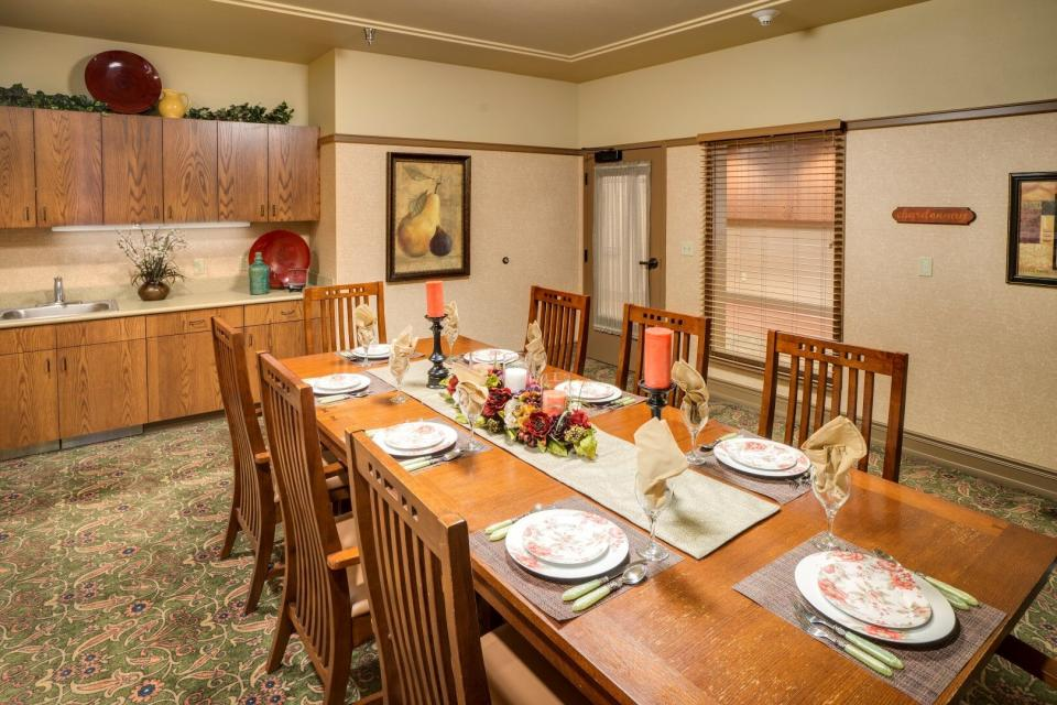 Private dining room with eight place settings