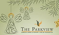 The Parkview Holiday card with Angels hanging from the Holiday tree