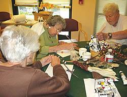 Residents enjoying an art activity