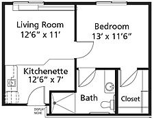 Village Lodge - Plan A1 Coloma Assisted Living One-Bedroom / One Bath 509 square feet