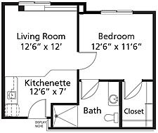 Village Lodge - Plan A2 Nugget Assisted Living One-Bedroom / One Bath 521 square feet