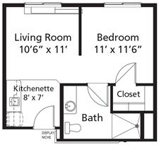 Village Lodge - Plan B Claim Jumper Assisted Living One-Bedroom / One Bath 429 square feet