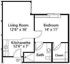 Village Lodge - Plan C Gold Rush Assisted Living One-Bedroom / One Bath 587 square feet