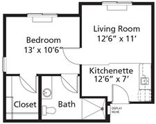 Village Lodge - Plan D El Dorado Assisted Living One-Bedroom / One Bath 520 square feet