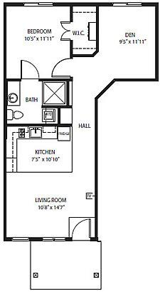 Village Cottages - The Cliff One-Bedroom / Den / One Bath 705 square feet