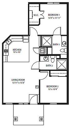 Village Cottages - The Crest Two-Bedroom / Two Bath 855 square feet