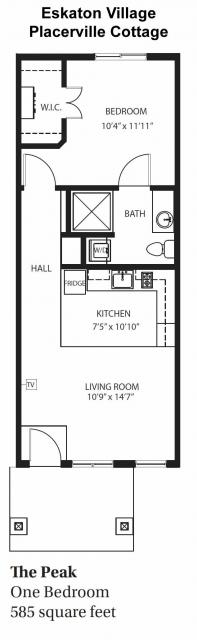 Village Cottages - The Peak One-Bedroom / One Bath 585 square feet
