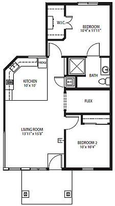Village Cottages - The Sierra Two-Bedroom / One Bath 855 square feet