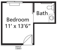 Village Lodge - Plan MC Memory Care One-Bedroom / One Bath 209 square feet