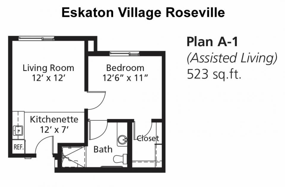 Assisted Living Apartment - Floor Plan A-1, 523 sq. ft.