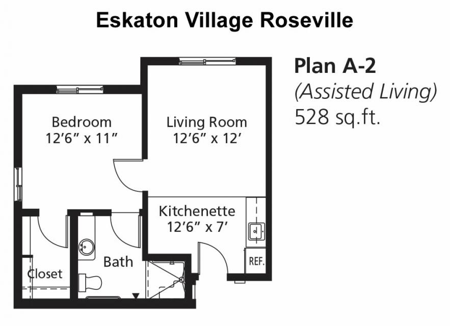 Assisted Living Apartment - Floor Plan A-2, 528 sq. ft.