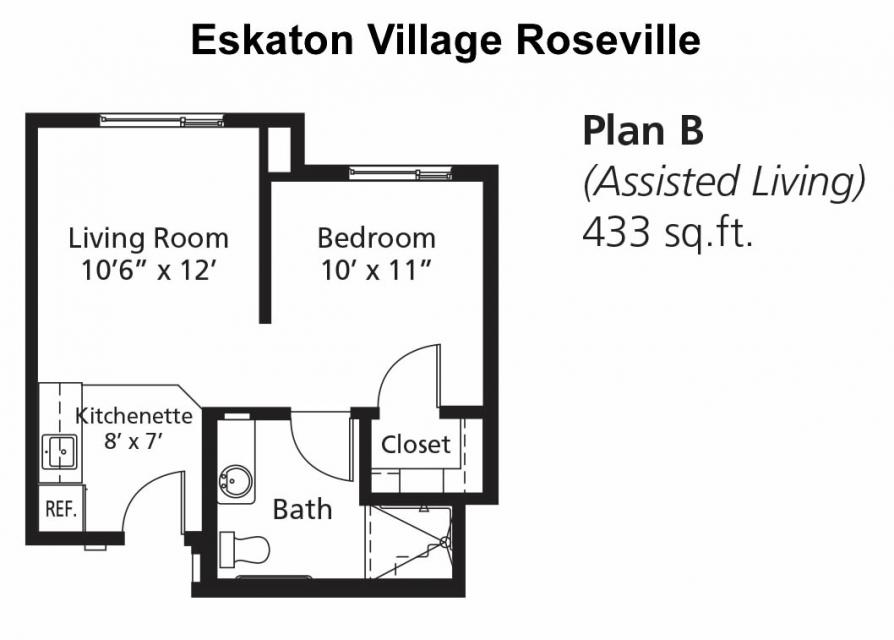 Assisted Living Apartment - Floor Plan B, 433 sq. ft.