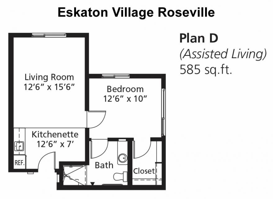 Assisted Living Apartment - Floor Plan D, 585 sq. ft.