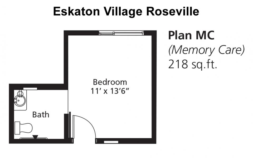 Memory Care Apartment  - Floor Plan MC, 218 sq. ft.