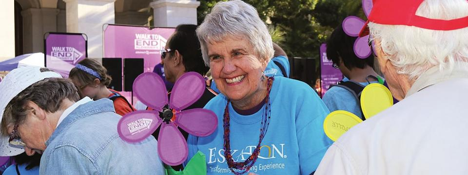 Smiling Eskaton resident at the Walk to End Alzheimer's event