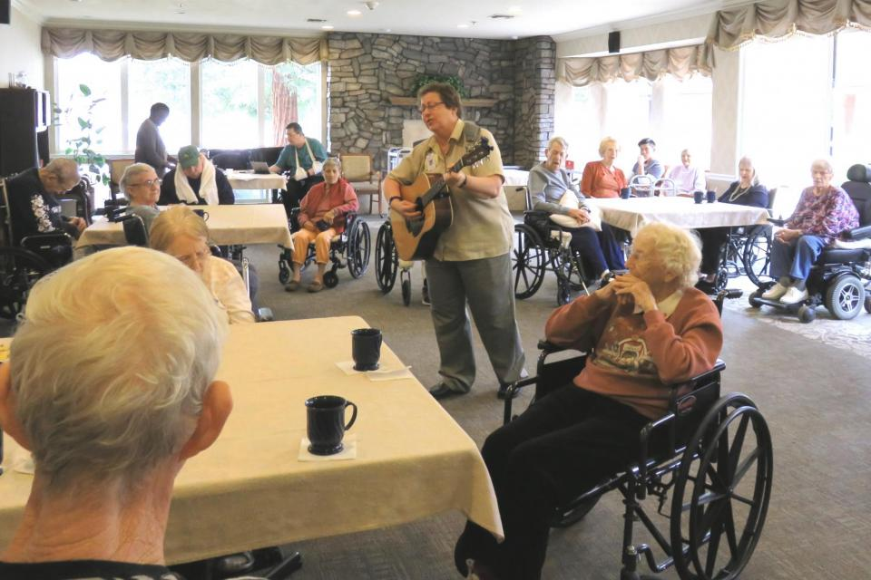 Residents enjoying live music at an event