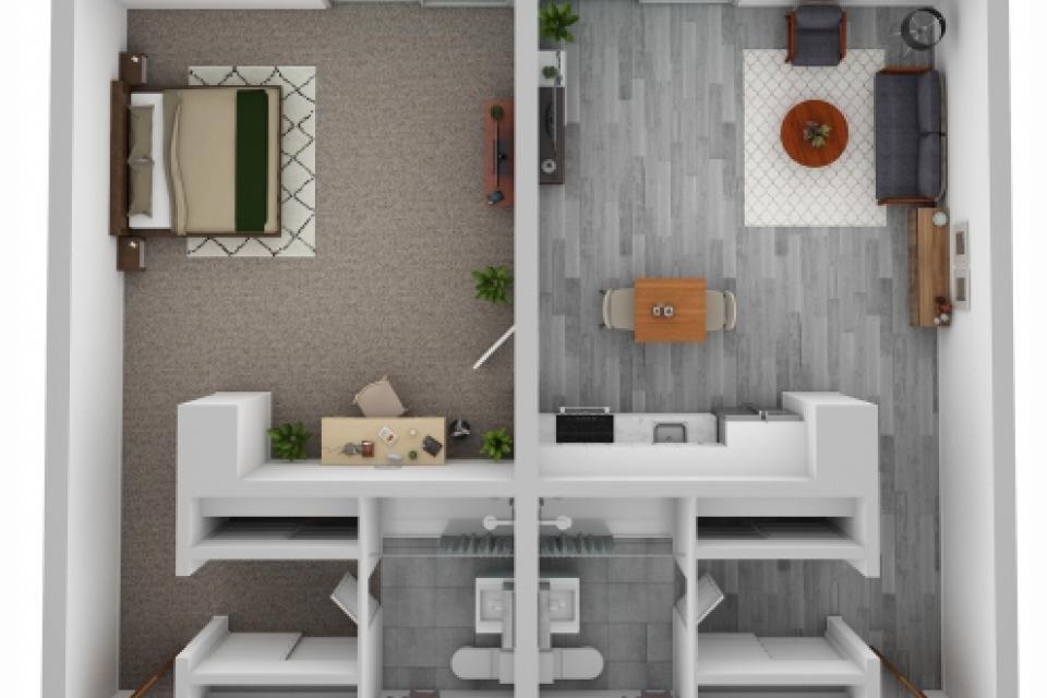 one bedroom, two bathroom suite floor plan, 854 square feet