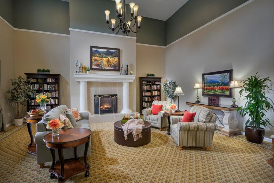 Community living room with fireplace