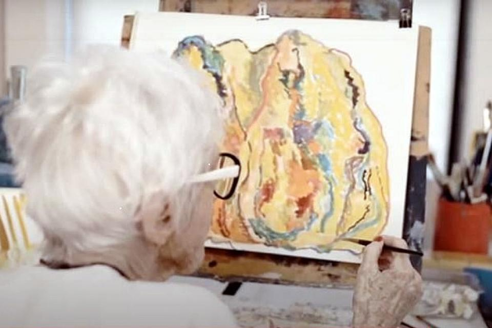 resident painting on canvas