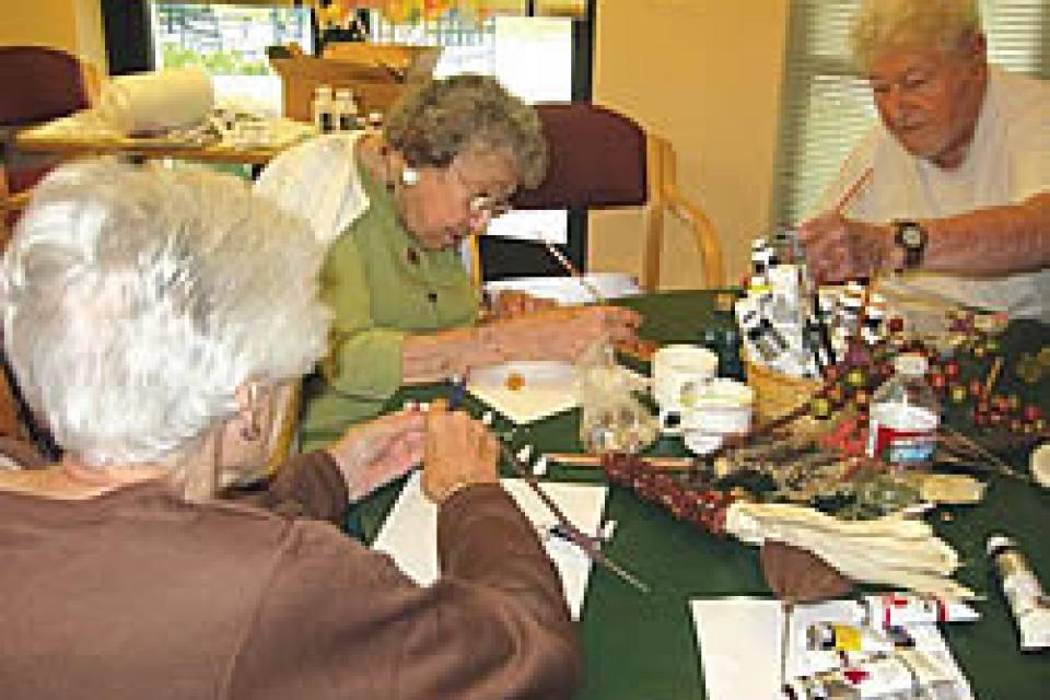Residents enjoying an art activity