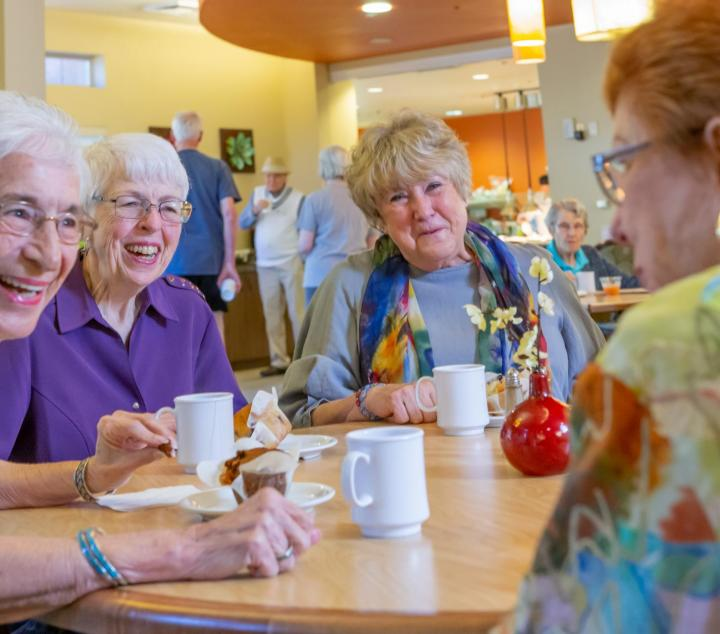 A group of friends socializing at the Village Bistro (contact us link)