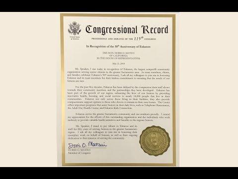 An honor from Congresswoman Matsui