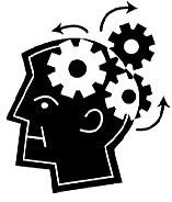 icon of a man's head with gears - to reflect strengthening your brain through brain gymnasium