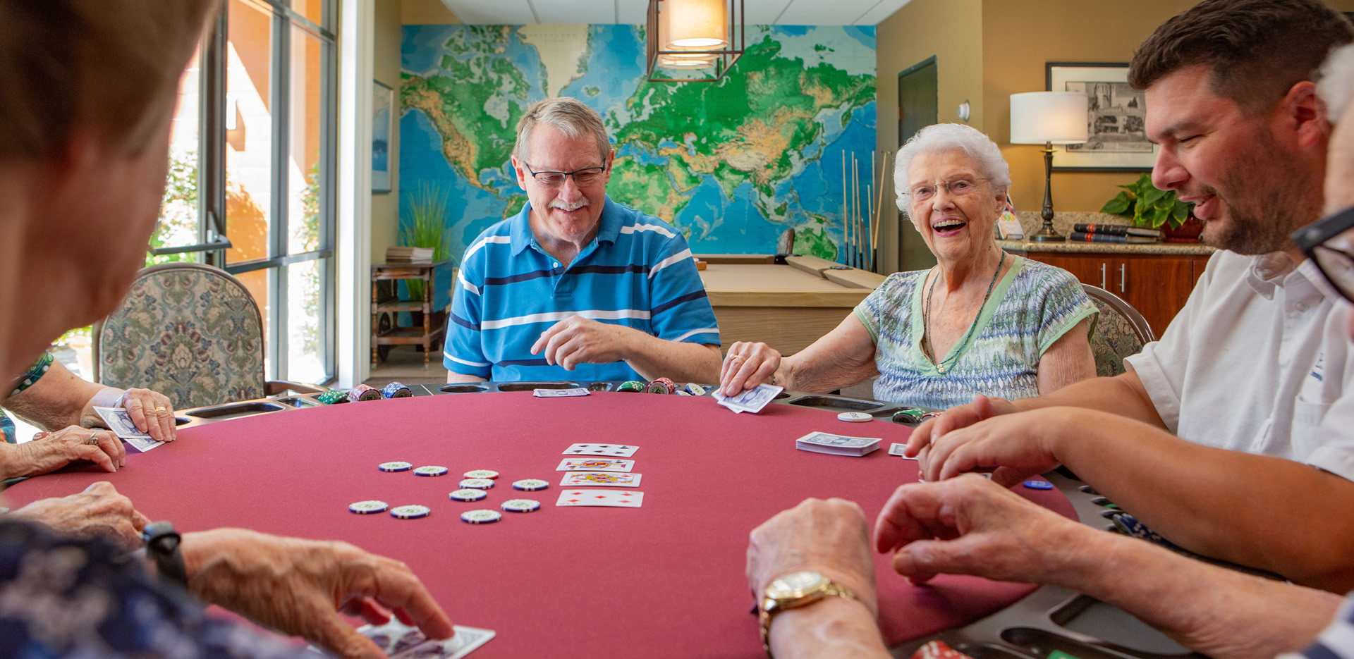 Residents playing a friendly game of cards